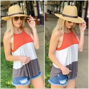 Infinity Raine Tops - Color Block Halter Knit Tank-Coral, white, gray